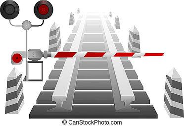 cruce ferrocarril, con, un, barrera, un