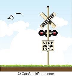 cruce, ferrocarril, señal