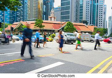 cruce, hizo señas, gente, camino, singapur