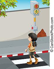 cruce, marrón, niña, calle, shoes