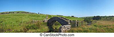cruce, packhorse, colden, yorkshire, plano de fondo, valles, campo, panorámico, vista puente, antiguo, corriente, piedra, aldea, oeste