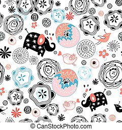 cruce, patrones, vektor, elefantes