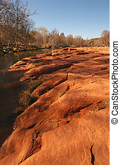 cruce, roca roja