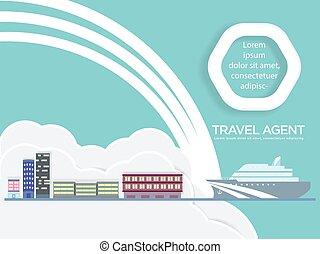 crucero, agente de viajes, barco