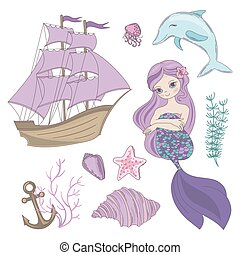crucero, conjunto, verano, vector, sirena, sirena, mar, ...