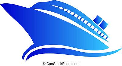 crucero, o, barco, logotipo