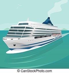 crucero, ondas, transatlántico, por, mar, cortes, abierto