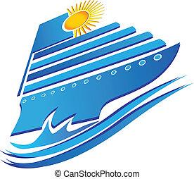 crucero, sol, y, ondas, logotipo, vector