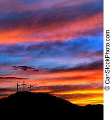 cruces, cristiano, religioso, -, ocaso, plano de fondo, pascua, cielo