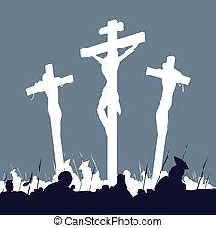 cruces, escena, cristo, -, tres, jesús, crucifixión