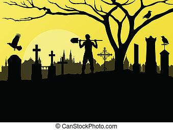 cruces, fantasmal, cementerio, halloween, plano de fondo, ...