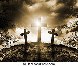 cruces, silueta, tres, colina