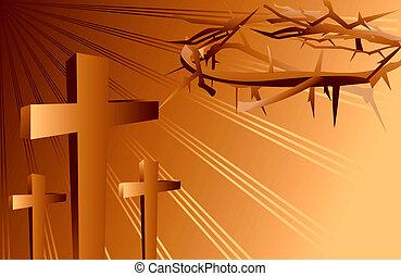 cruces, y, corona de espinas