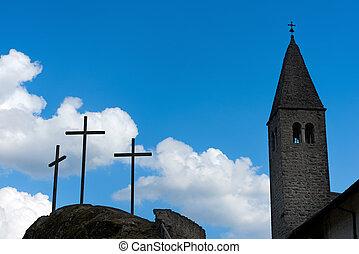cruces, y, iglesia, silueta, contra, cielo