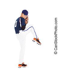 cruche, balle, prêt, lancement, joueur base-ball, pose