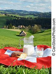 cruche, flag., suisse, suisse, lait, emmental