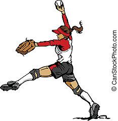 cruche, softball, jeûne, pas, vecteur