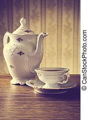cruche, vendange, démodé, papier peint, fond, thé