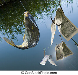 Crucian river fish on a hook