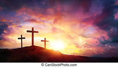 crucificação jesus cristo, em, amanhecer, -, três, cruzes, ligado, colina