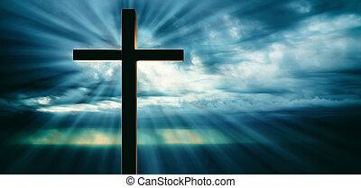 crucificação jesus cristo, madeira, crucifixos, céu, em, pôr do sol, experiência., 3d, ilustração