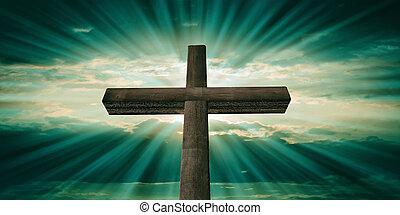 crucificação jesus cristo, madeira, crucifixos, verde azul, céu, experiência., 3d, ilustração