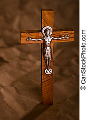 Crucified wooden cross