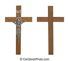 crucifijo, con, ruta de recorte