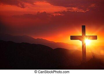 crucifijo, luz, cristo