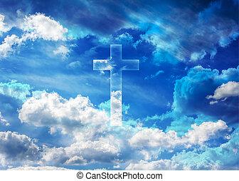 crucifijo, o, cruz, forma, brillar, en, hinchado, nubes, cielo azul, cielo, y, dios, crucifijo, plano de fondo