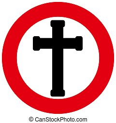 Crucifix - A black Cross in a red circle with a white...