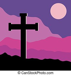 Crucifix and Moon - A symbolic view of the Crucifix on the...