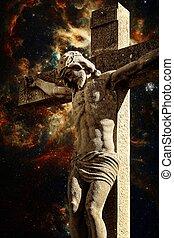 Crucifix and the Tarantula Nebula background (Elements of...