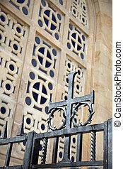 Crucifix at Gethsemane - A metal crucifix as part of gate...