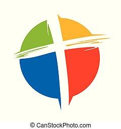 Crucifix Cross Brush Circle Colors Symbol Design - Crucifix...