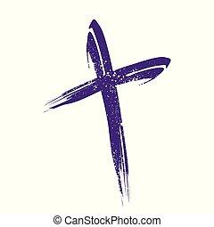 Crucifix Cross Brush Strokes Symbol Design - Crucifix Cross...