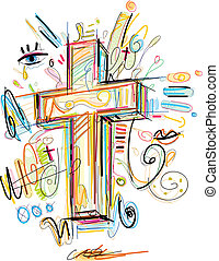 Crucifix Doodle - This Crucifix Vector Image was digital...