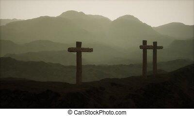 crucifix, montagne, bois, croix