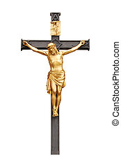 Old-time wooden orthodox crucifix on white background