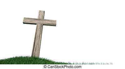Crucifix On A Grassy Hill Isolated