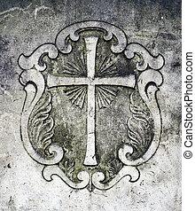 Crucifix On A Gravestone