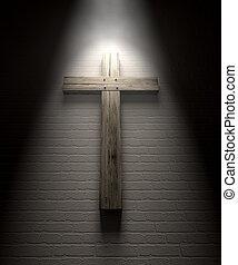 Crucifix On A Wall Under Spotlight