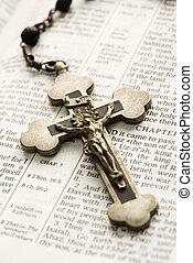 Crucifix on Bible.