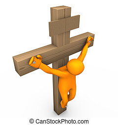 Crucifix - Orange cartoon crucified on the white background.