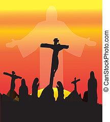 crucifixión, cruces, tres