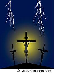 crucifixión, en, golgotha