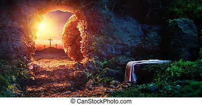 crucifixión, en, salida del sol, -, vacío, tumba, con, mortaja, -, resurrección, de, jesucristo