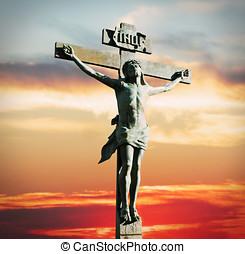 crucifixión jesucristo, en, el, ocaso