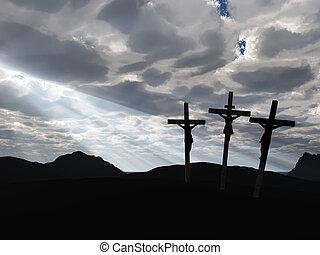crucifixión, y, drame, cielo