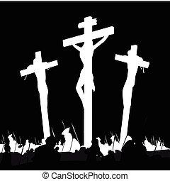 Calvary crucifixon scene with three crosses. Vector Illustration.